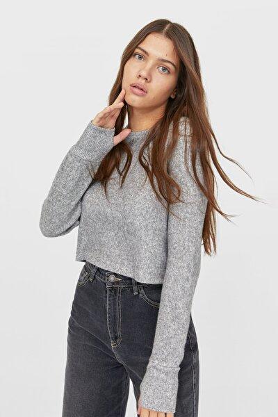 Kadın Açık Gri Fitilli Crop Fit T-Shirt 06634121