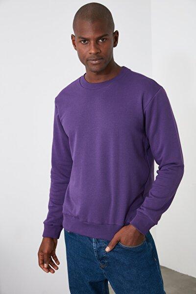 Mor Erkek Regular Fit Bisiklet Yaka Uzun Kollu Tok Kumaşlı Basic Sweatshirt TMNAW20SW0165