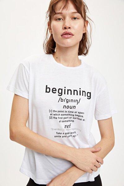 Kadın Whıte Yazı Baskılı Kısa Kollu Tişört S9660AZ20HS