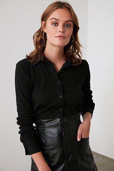 Siyah Basic Örme Gömlek TWOAW21GO0301