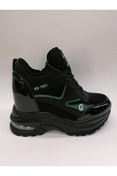 Kadın Air Tabanlı Fermuarlı Gizli Dolgu Siyah Bayan Sneaker
