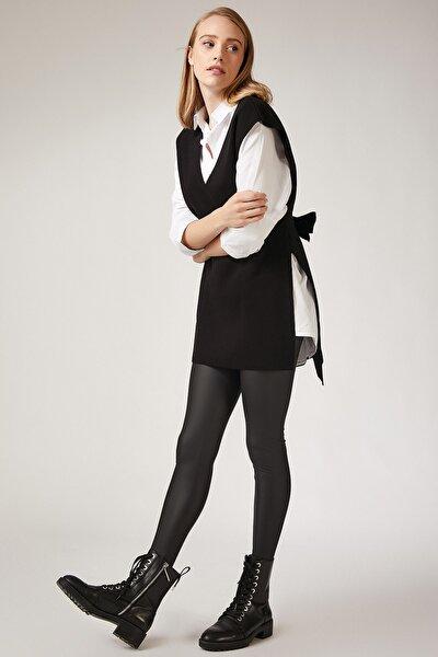 Kadın Siyah V Yaka Kuşaklı Uzun Triko Süveter US00185