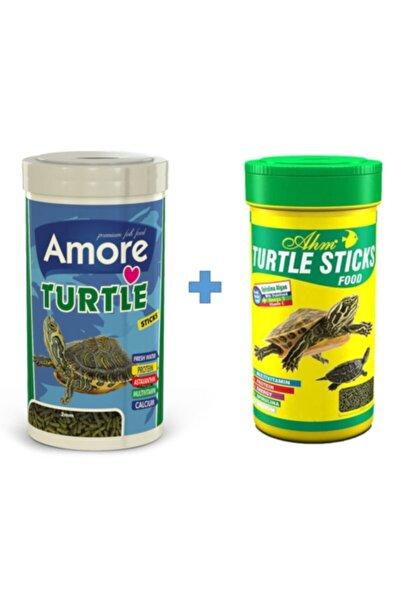 Turtle Sticks 250ml + Ahm Turtle 250ml Vitamin Kalsiyum Mineral Plus Sürüngen Ve Kaplumbağa Yemi
