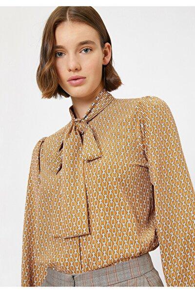Kadın Sarı Desenli Gömlek 0KAK68193PW