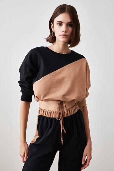 Çok Renkli Büzgülü Crop Örme Sweatshirt TWOSS20SW0085