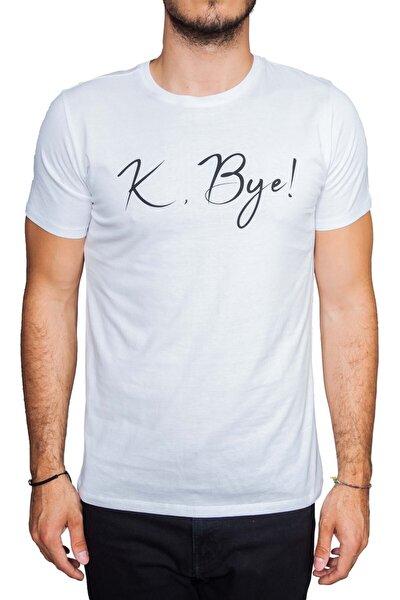 K, Bye Yazılı Beyaz T-shirt