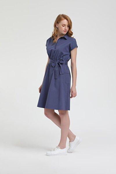 Kadın Lacivert Kısa Kollu Poplin Gömlek Elbise HPPYHS65