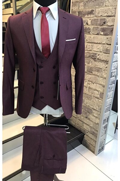 Erkek Bordo Mono Yaka Slimfit Takım Elbise