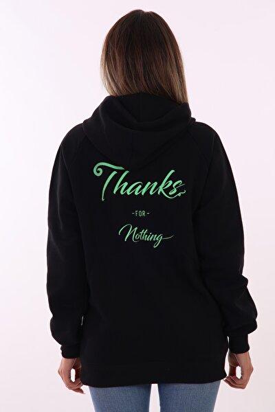 Kadın Siyah Thanks Yazılı Kapüşonlu Sweatshirt