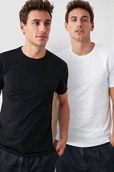 Çok Renkli Erkek 2'li Basic Paket Slim Fit T-Shirt TMNSS19BO0075