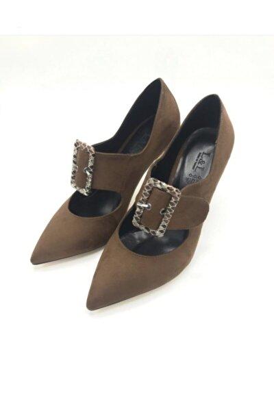 Kadın Süet Kahve Topuklu Ayakkabı