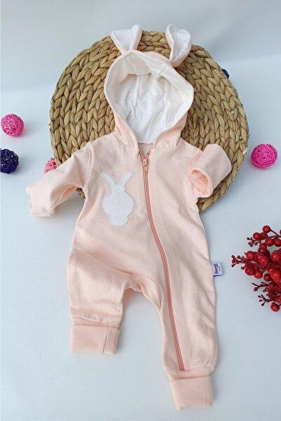Unisex Bebek Pembe Ponponlu Tavşan Desenli Kapüşonlu Tulum