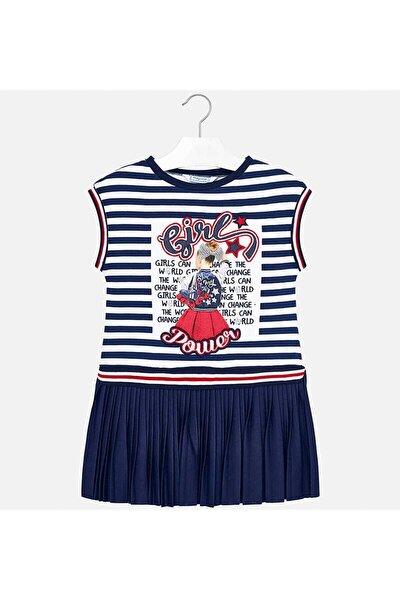 Kız Çocuk Lacivert Pileli Elbise