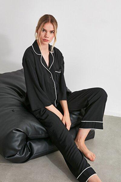 Siyah Biyeli Dokuma Pijama Takımı THMAW21PT0292