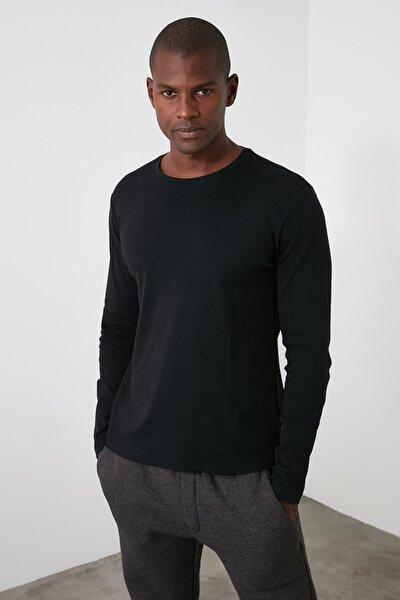 Siyah Erkek Slim Fit Bisiklet Yaka Uzun Kollu Basıc T-shirt TMNAW20TS0199