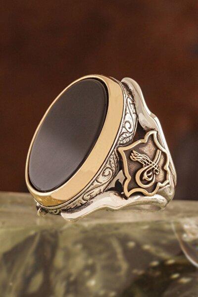 Oniks Taşlı Tuğra Desenli Zambak Model Gümüş Yüzük