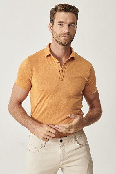 Erkek Koyu Sarı Polo Yaka Cepsiz Slim Fit Dar Kesim Düz Tişört
