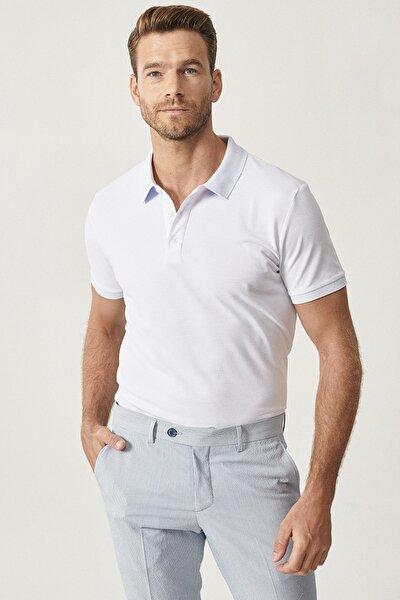 Erkek Beyaz Polo Yaka Cepsiz Slim Fit Dar Kesim Koton Düz Tişört