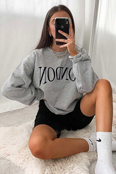 Mad Girls Gri Kadın Sweatshirt MG699