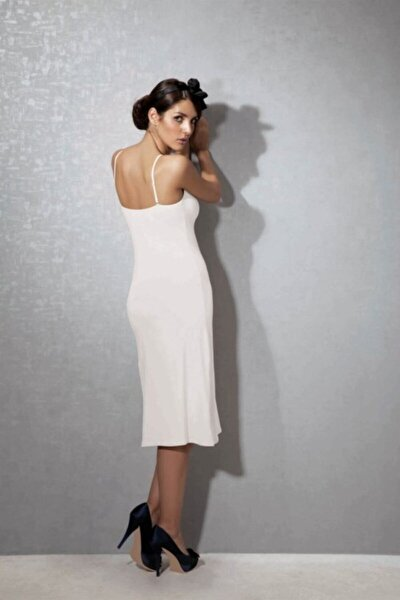 Kadın Beyaz Modal Askılı Jüpon Kombinezon
