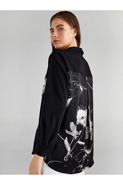 Kadın Siyah Çiçek Desen Cepli Gömlek 61320