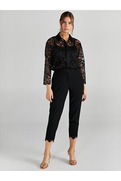 Kadın Siyah Paçası Dantel Detaylı Slim Fit Pantolon 61534
