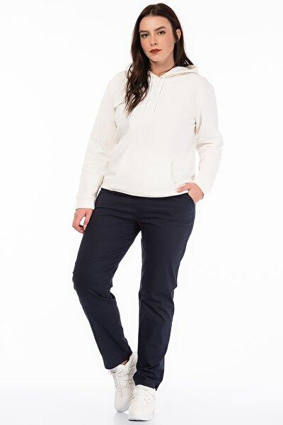 Kadın Lacivert Likralı Bengalin Kumaş  Bel Kısmı Lastik Detaylı Cepli Pantolon 65N18450