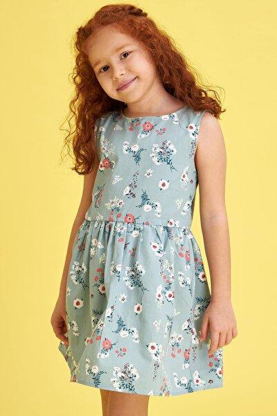 Kız Çocuk Çiçek Baskılı Kolsuz Elbise