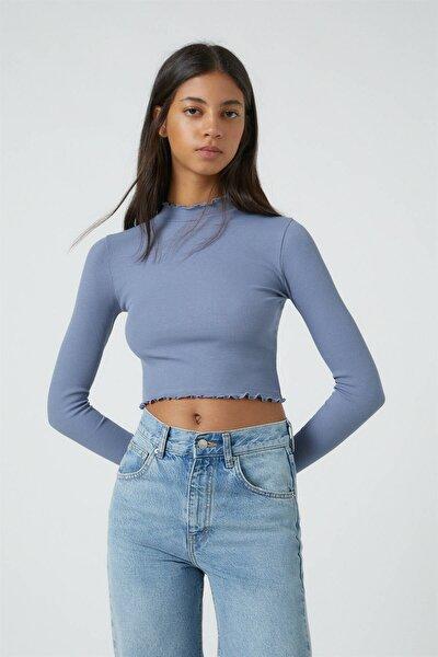 Kadın Koyu Lacivert Kıvrımlı Kenarlı Uzun Kollu T-Shirt 09249310