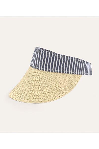 Kadın Bej Şeritli Hasır Şapka 1216553