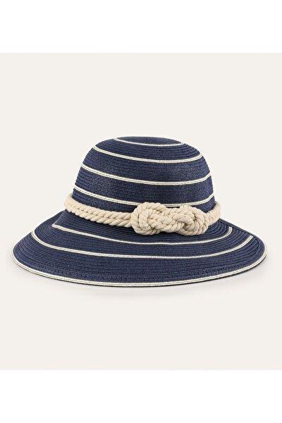 Kadın Lacivert İp Detaylı Hasır Şapka 1216557
