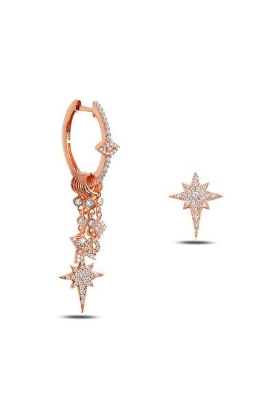 Kadın Pembe 925 Ayar Gümüş Kuzey Yıldızlı Şans Küpesi