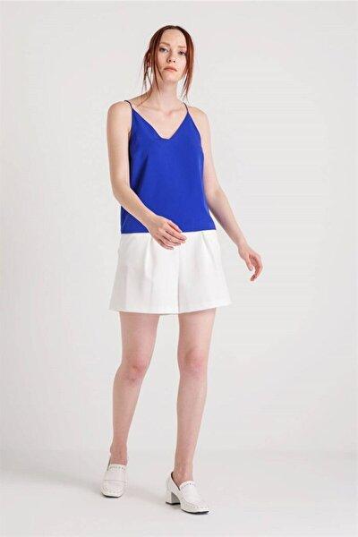 Kadın  Saks Mavi  İp Askılı Bluz