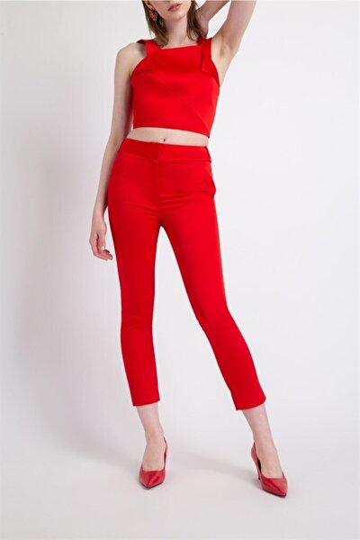 Kadın Kırmızı Geometrik Kup Cep Detaylı Pantolon