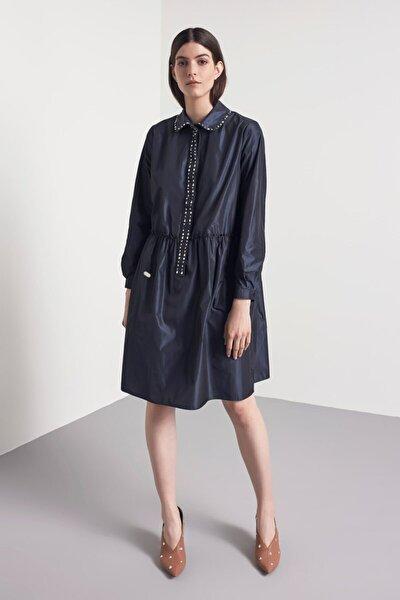 Kadın Mavi İşleme Detaylı Elbise