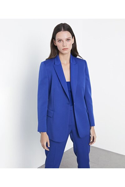 Kadın Mavi Klasik Kesim Ceket