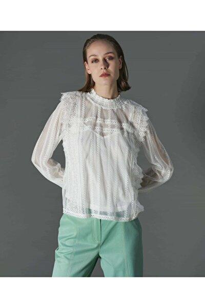 Kadın Beyaz Dantel Bluz