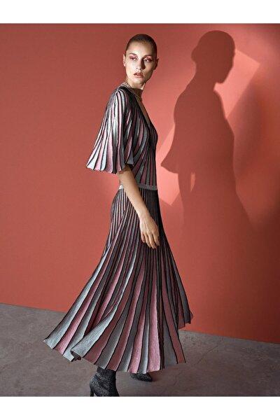 Kadın Pembe Simli Örme Pilisole Elbise