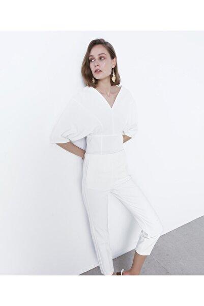 Kadın Beyaz Bel Vurgulu Bluz