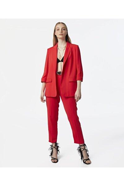 Kadın Kırmızı Klasik Kesim Pantolon