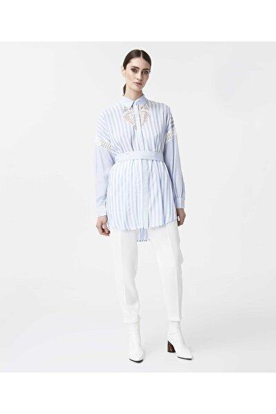 Kadın Mavi Güpür Şeritli Tunik