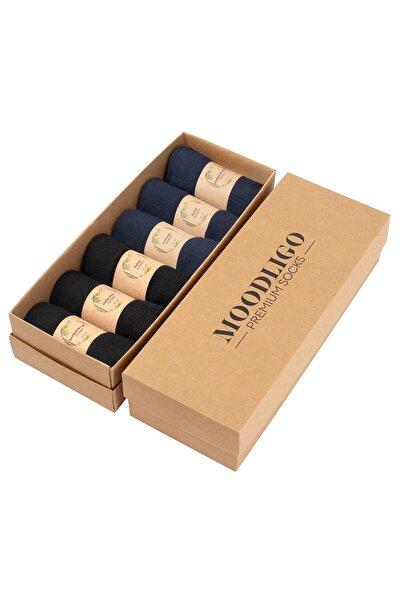 Premium 6'lı Erkek Bambu Çorap - 3 Siyah 3Lacivert