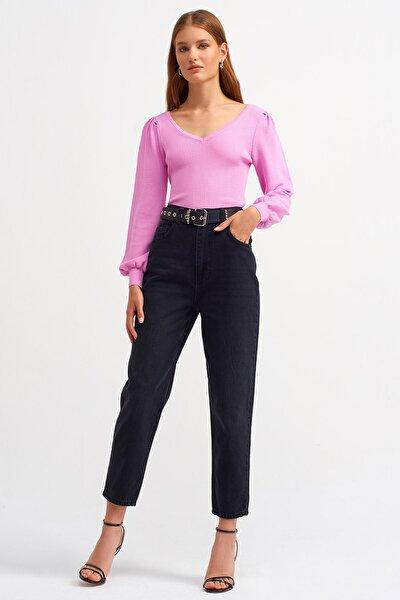 Kadın Siyah Yüksel Bel Eskitmeli Mom Jeans
