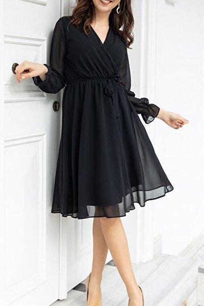 Siyah Kruvaze Yaka Şifon Büyük Beden Elbise