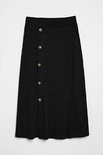 OLIVA Kadın Triko Görünümlü Önü  Düğmeli  Siyah Etek
