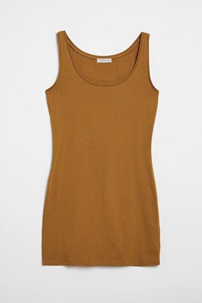 BELLA Kadın Sarı Dar Kesim Uzun Kolsuz  T-Shirt