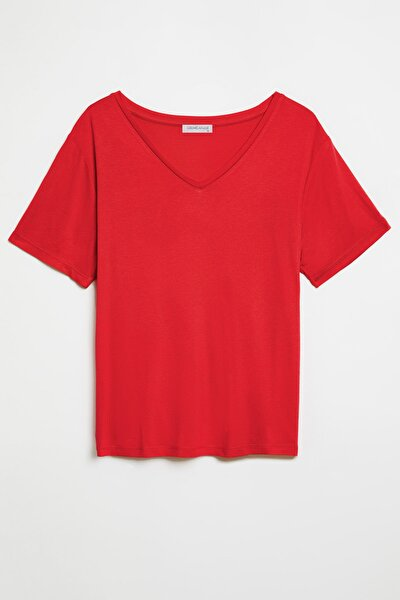 VIOLET Kadın Kırmızı Comfort Fit V yaka Kısa Kollu T-Shirt