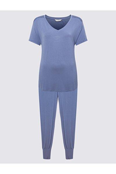 Kadın Mavi Kısa Kollu Pijama Takımı T37001516X
