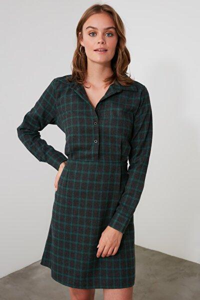 Haki Kuşaklı Gömlek Yaka Elbise TWOAW21EL1754
