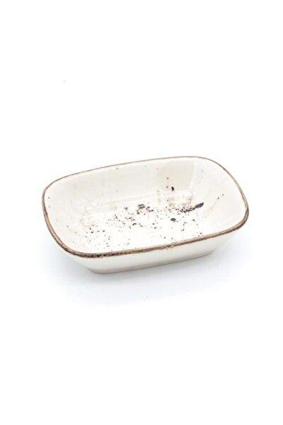 12 Cm Krem Reaktif Desen Kare Kayık Model Porselen Sunum Tabağı , Kahvaltılık , Reçellik